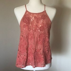 Free People Coral Tank Top with Open Back